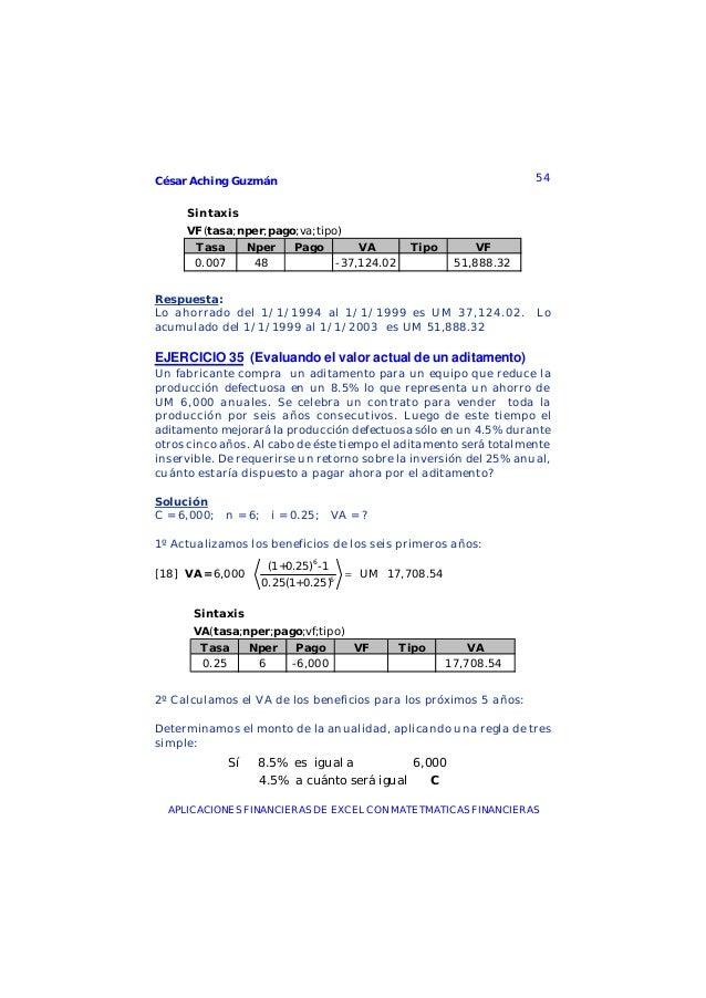 César Aching Guzmán 54APLICACIONES FINANCIERAS DE EXCEL CON MATETMATICAS FINANCIERASSintaxisVF(tasa;nper;pago;va;tipo)Tasa...