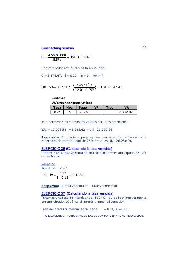 César Aching Guzmán 55APLICACIONES FINANCIERAS DE EXCEL CON MATETMATICAS FINANCIERAS4.5%*6,000= UM 3,176.478.5%C =Con este...