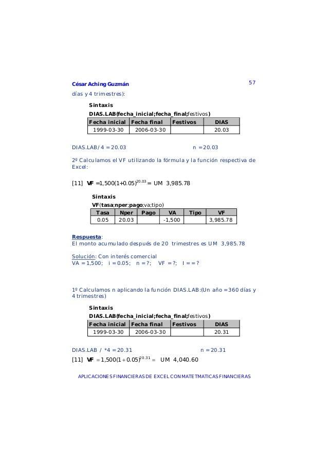 César Aching Guzmán 57APLICACIONES FINANCIERAS DE EXCEL CON MATETMATICAS FINANCIERASdías y 4 trimestres):SintaxisDIAS.LAB(...