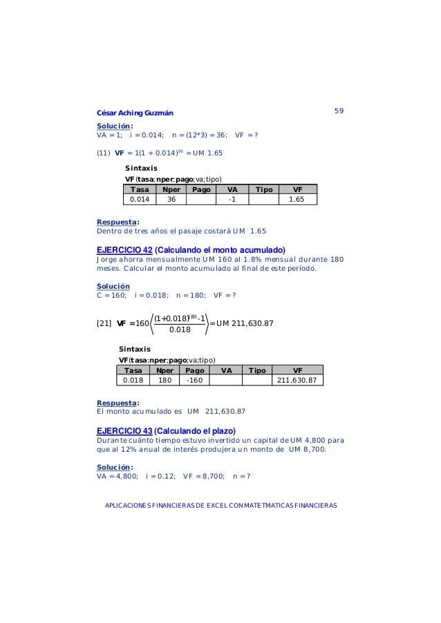 César Aching Guzmán 59APLICACIONES FINANCIERAS DE EXCEL CON MATETMATICAS FINANCIERASSolución:VA = 1; i = 0.014; n = (12*3)...
