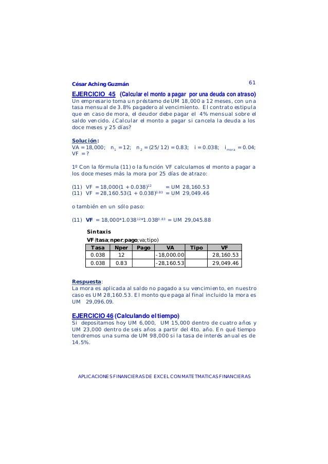 César Aching Guzmán 61APLICACIONES FINANCIERAS DE EXCEL CON MATETMATICAS FINANCIERASEJERCICIO 45 (Calcular el monto a paga...