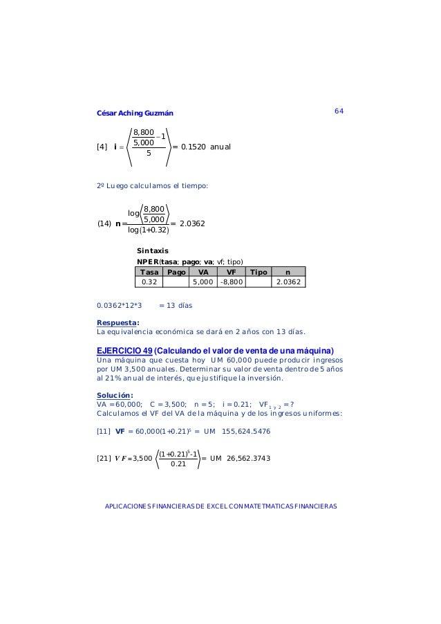 César Aching Guzmán 64APLICACIONES FINANCIERAS DE EXCEL CON MATETMATICAS FINANCIERAS8,80015,000[4] = 0.1520 anual5i−=2º Lu...