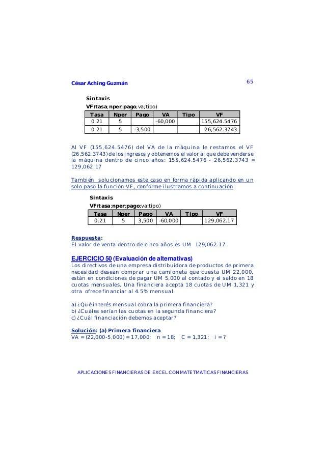 César Aching Guzmán 65APLICACIONES FINANCIERAS DE EXCEL CON MATETMATICAS FINANCIERASSintaxisVF(tasa;nper;pago;va;tipo)Tasa...