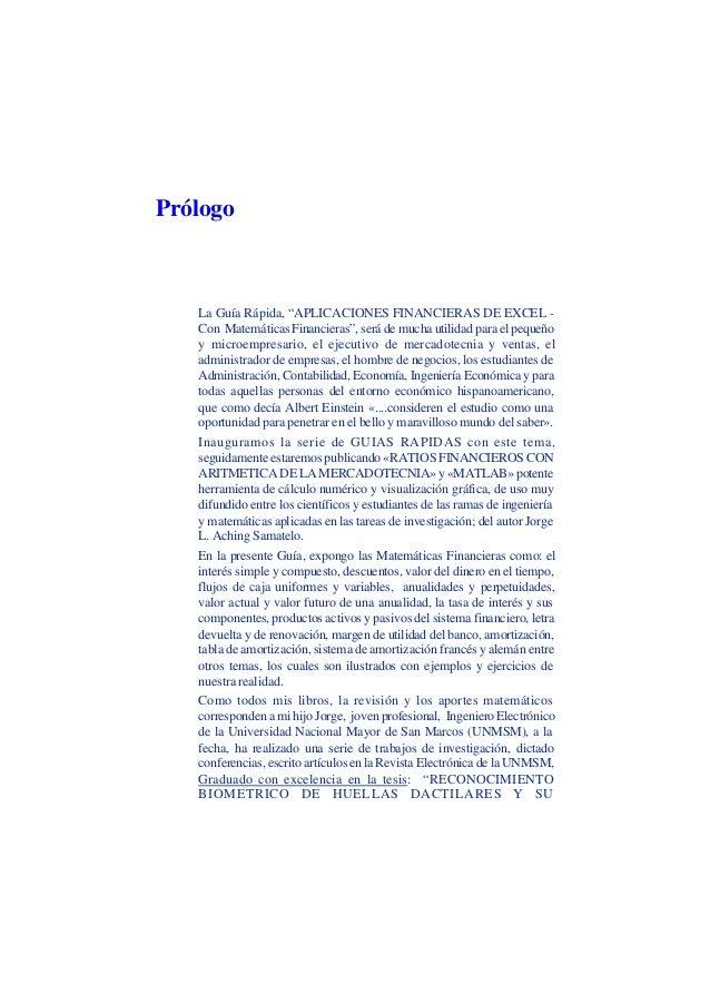 """César Aching Guzmán 8APLICACIONES FINANCIERAS DE EXCEL CON MATETMATICAS FINANCIERASPrólogoLa Guía Rápida, """"APLICACIONES FI..."""