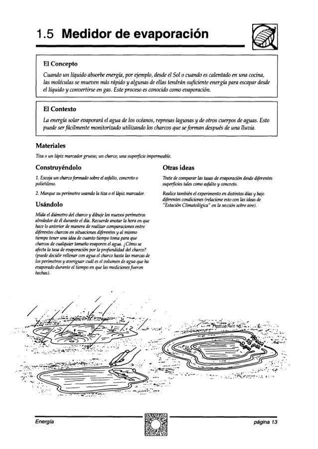 1.5 Medidor de evaporación El Concepto Cuando un líquido absorbeenergía, por ejemplo,desdeel Sol o cuando escalentado en u...