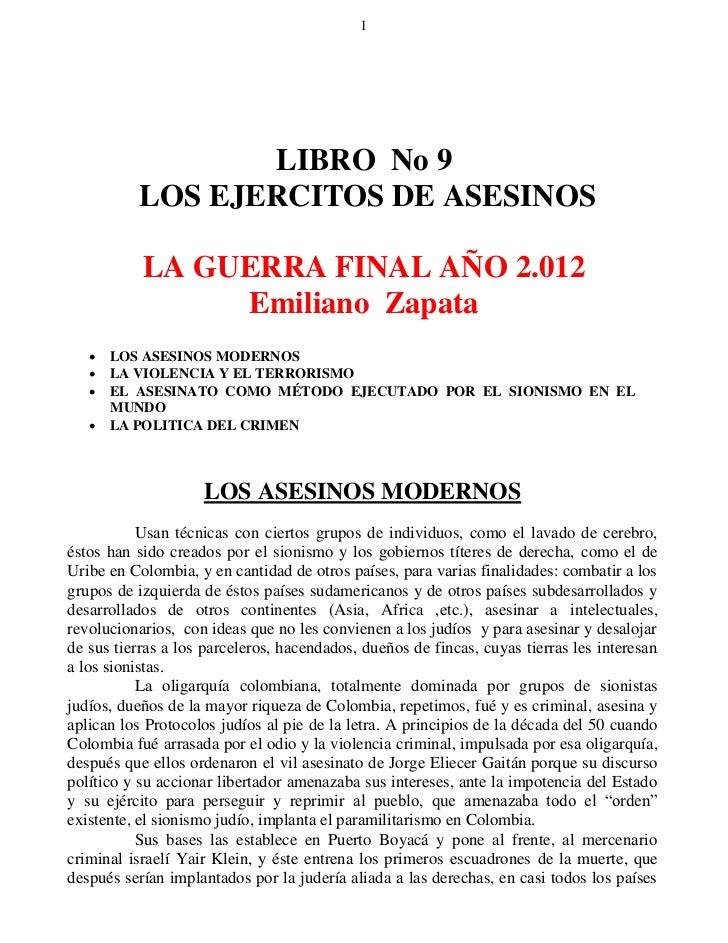 1                 LIBRO No 9          LOS EJERCITOS DE ASESINOS           LA GUERRA FINAL AÑO 2.012                Emilian...