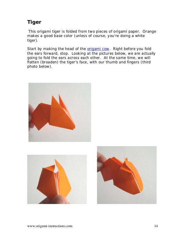 14 Origami Instructions Tiger