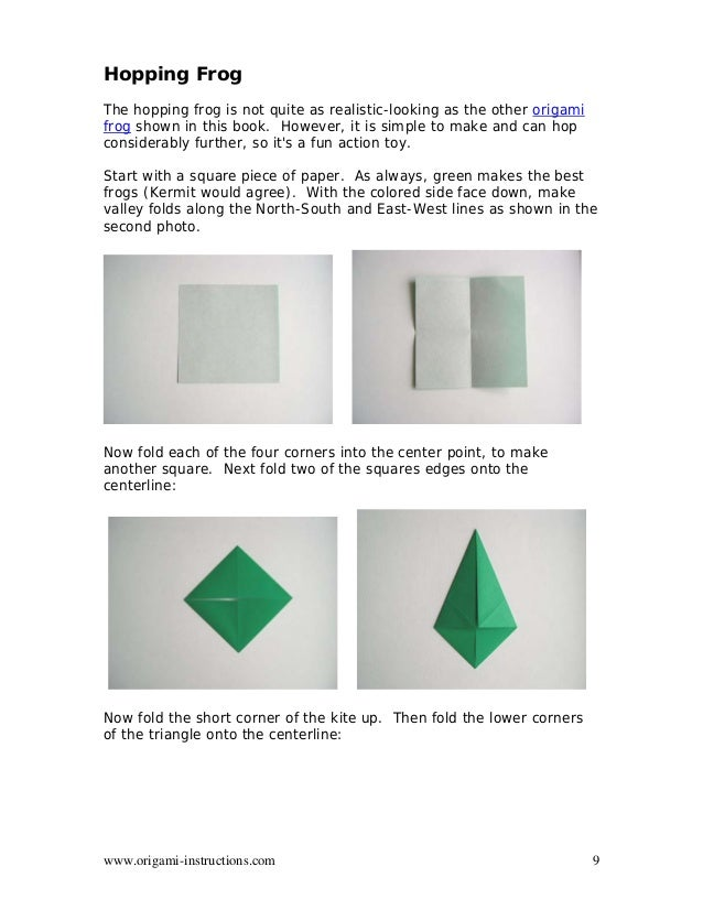 9 Origami Instructions Hopping Frog