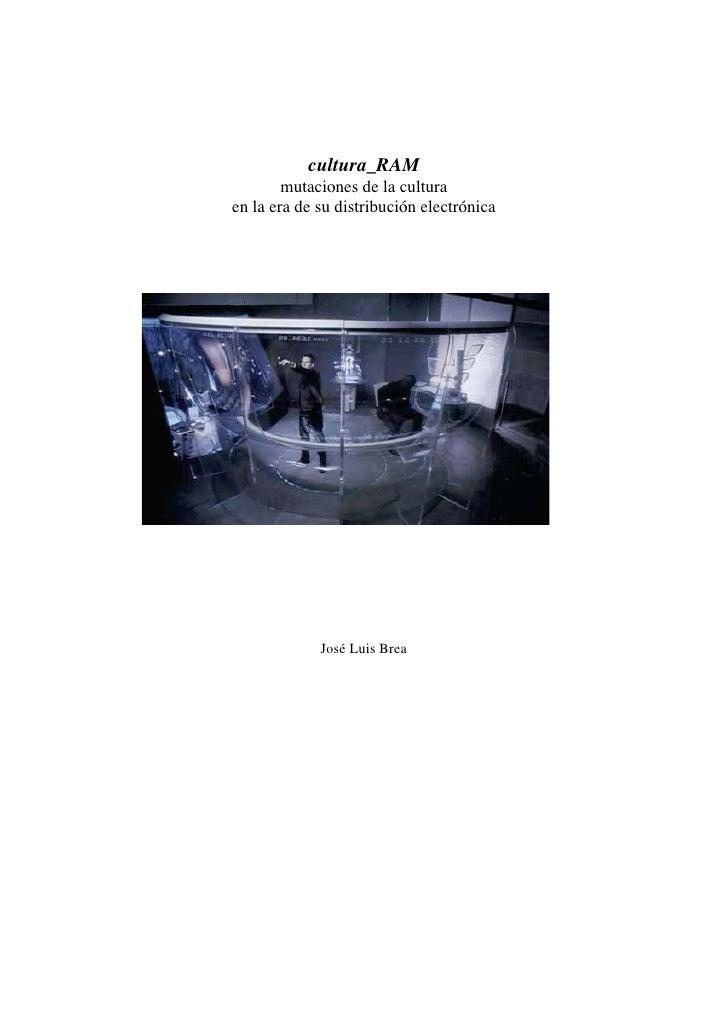 """""""Cultura_Ram mutaciones de la cultura en la era de su distribución electronica"""" de José Luis Brea. (Lectura)"""