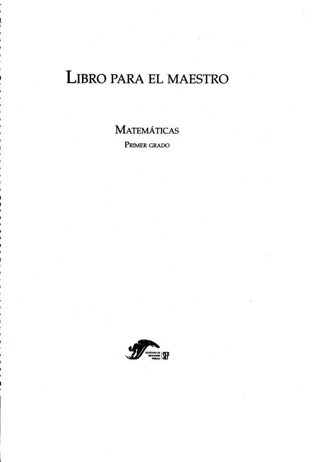 """LIBRO PARA EL MAESTRO  MATEMÁTICAS  PRIMER GRADO  fi """"W-ZISH'"""