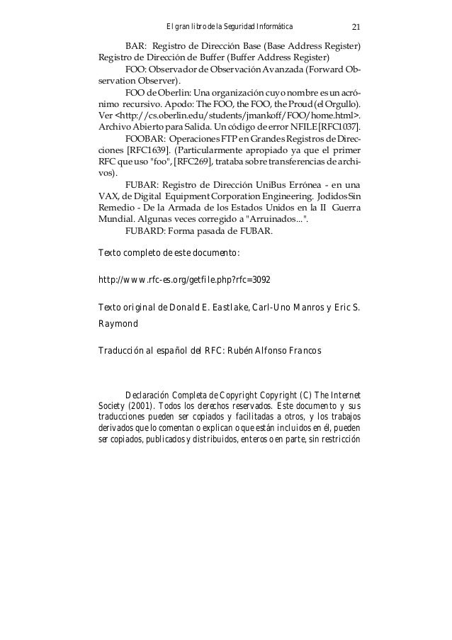 El gran libro de la Seguridad Informática22 de ningún tipo, siempre que incluyan este párrafo y la nota de copyright arrib...