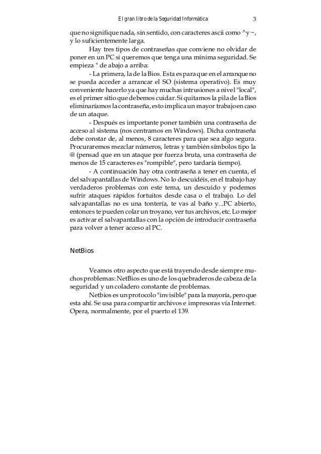 El gran libro de la Seguridad Informática 3 que no signifique nada, sin sentido, con caracteres ascii como ^y ~, y lo sufi...
