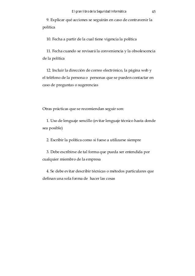 """El gran libro de la Seguridad Informática 47 Texto traducido y adaptado de """"The Security Policy Life Cycle: Func- tions an..."""