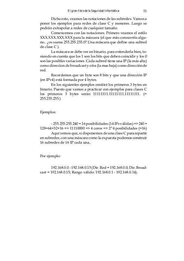 El gran libro de la Seguridad Informática54 Lo mismo es válido si tenemos en cuenta una subred de más de 256 equipos. Simp...