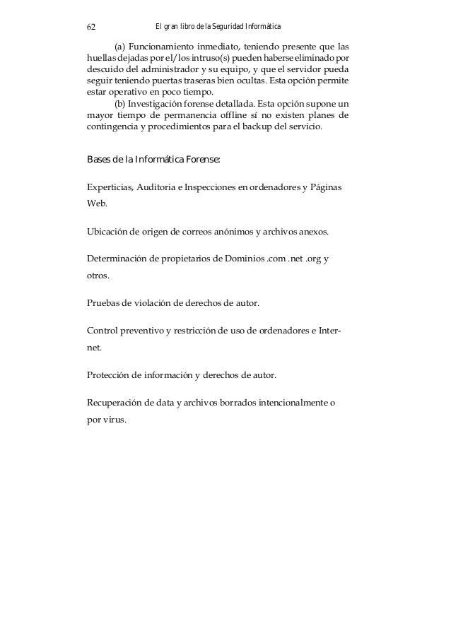 El gran libro de la Seguridad Informática66 Recomiendo como lectura interesante a: Sistemas de Detección de Intrusiones de...