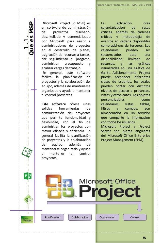 Planeación y Programación de Proyectos.