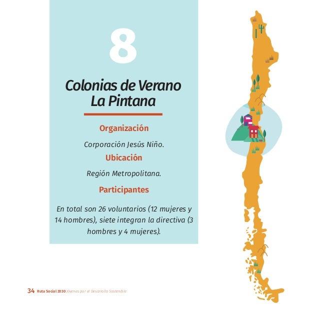 34 Ruta Social 2030 Jóvenes por el Desarrollo Sostenible 8 ColoniasdeVerano LaPintana Organización Corporación Jesús Niño....