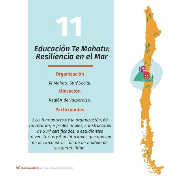 40 Ruta Social 2030 Jóvenes por el Desarrollo Sostenible Educación Te Mahatu: Resiliencia en el Mar Organización Te Mahatu...