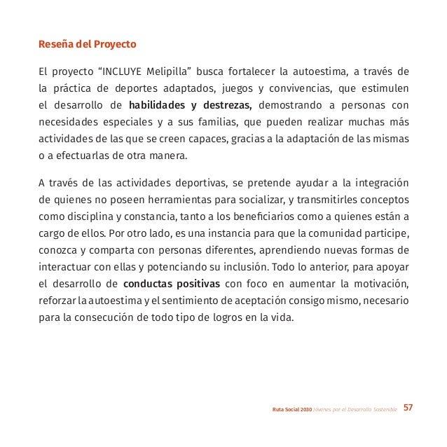 """57Ruta Social 2030 Jóvenes por el Desarrollo Sostenible Reseña del Proyecto El proyecto """"INCLUYE Melipilla"""" busca fortalec..."""
