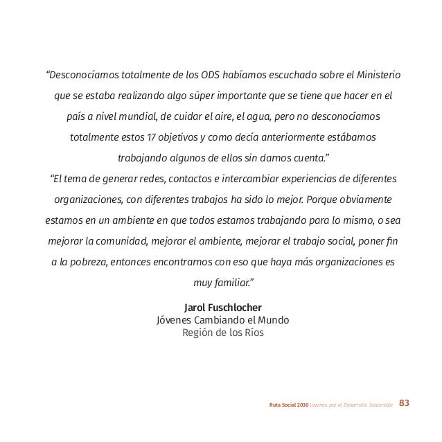"""83Ruta Social 2030 Jóvenes por el Desarrollo Sostenible """"Desconocíamos totalmente de los ODS habíamos escuchado sobre el M..."""