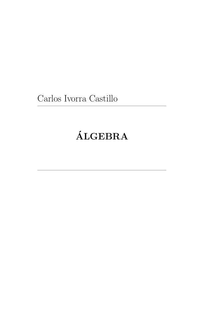 Carlos Ivorra Castillo          ´          ALGEBRA