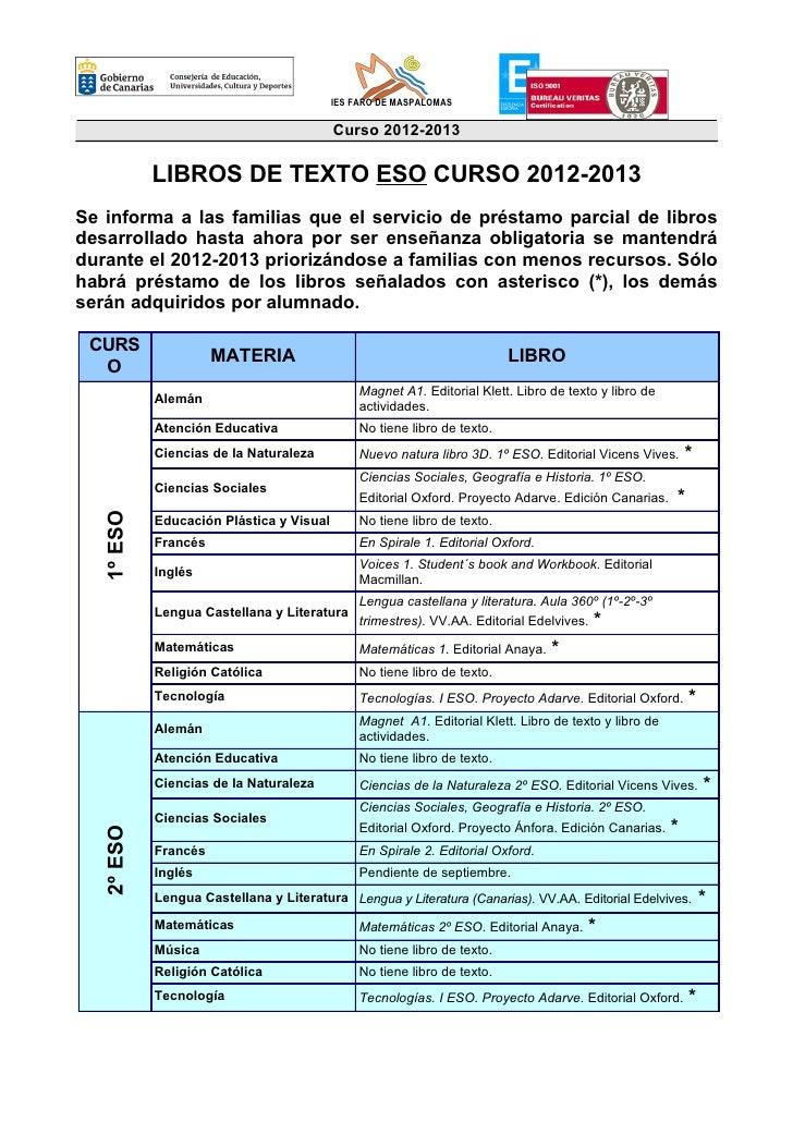 IES FARO DE MASPALOMAS                                          Curso 2012-2013            LIBROS DE TEXTO ESO CURSO 2012-...