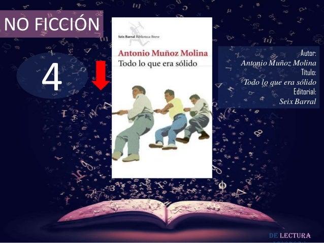 NO FICCIÓN                                Autor:   4             Antonio Muñoz Molina                                Títul...