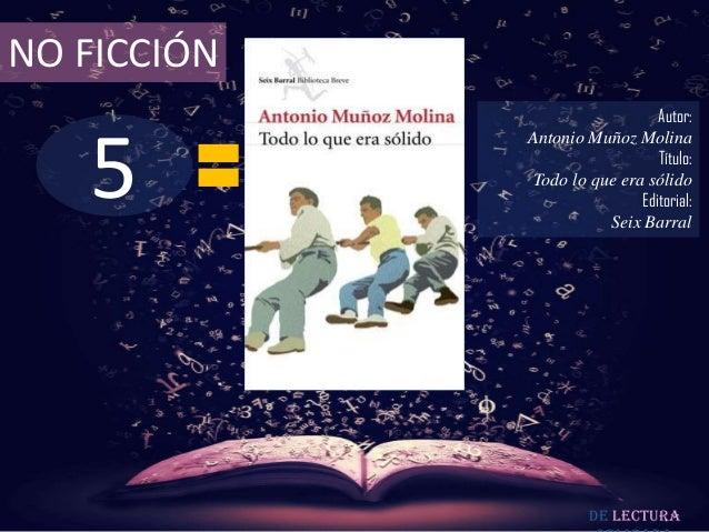 NO FICCIÓN                                Autor:   5             Antonio Muñoz Molina                                Títul...