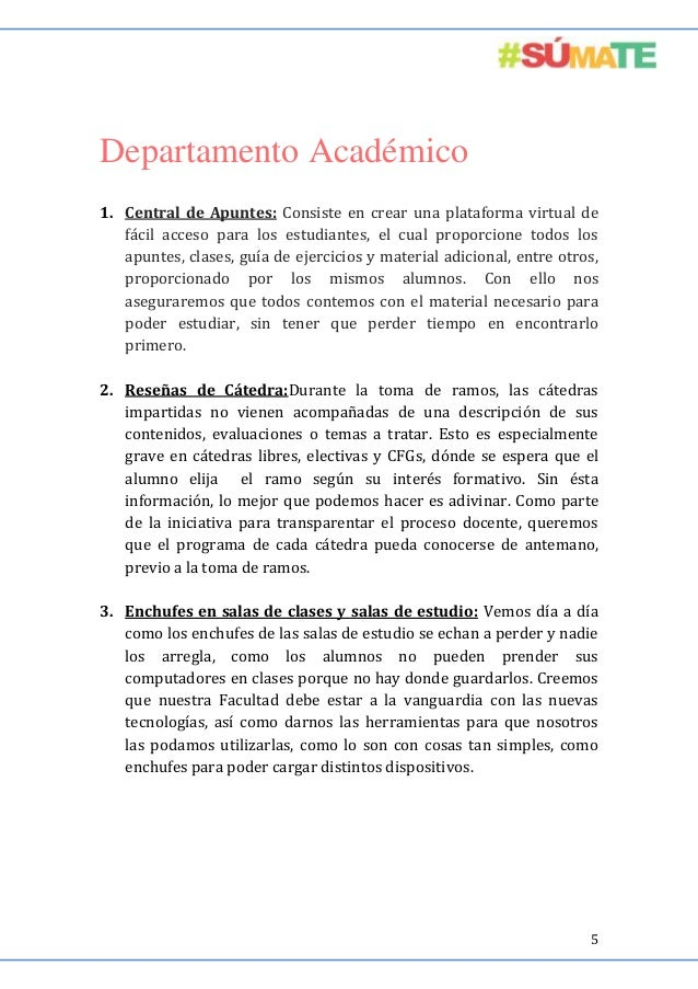 Departamento Académico 1. Central de Apuntes: Consiste en crear una plataforma virtual de fácil acceso para los estudiante...