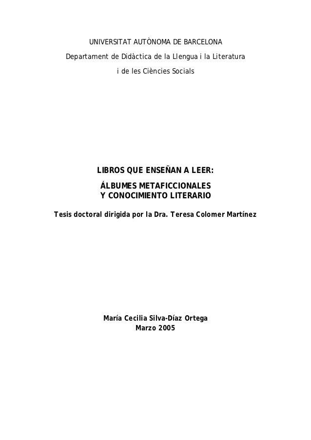 UNIVERSITAT AUTÒNOMA DE BARCELONA   Departament de Didàctica de la Llengua i la Literatura                  i de les Ciènc...