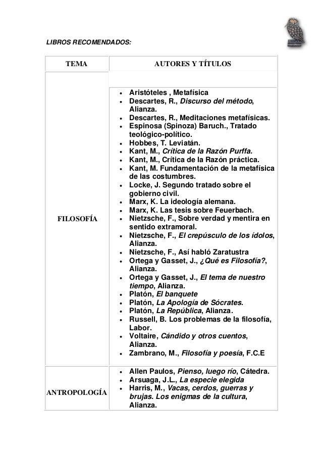 LIBROS RECOMENDADOS:TEMA AUTORES Y TÍTULOSFILOSOFÍA• Aristóteles , Metafísica• Descartes, R., Discurso del método,Alia...