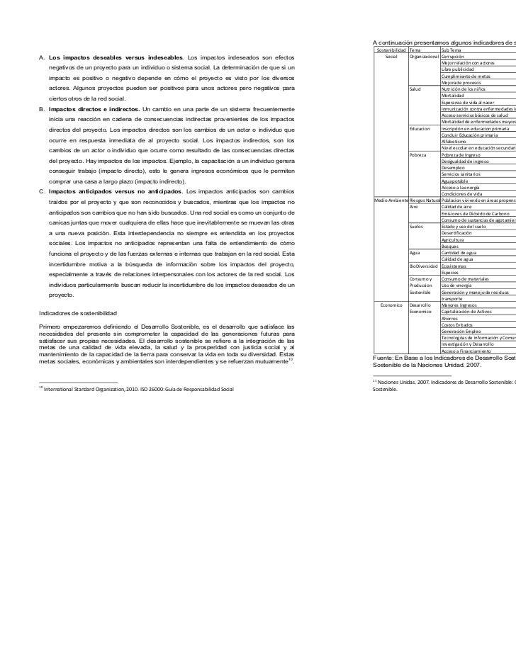 A continuación presentamos algunos indicadores de sostenibilidad11                                                        ...