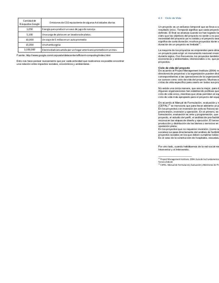 4.3   Ciclo de Vida     Cantidad de                            Emisiones de CO2 equivalente de algunas Actividades diarias...