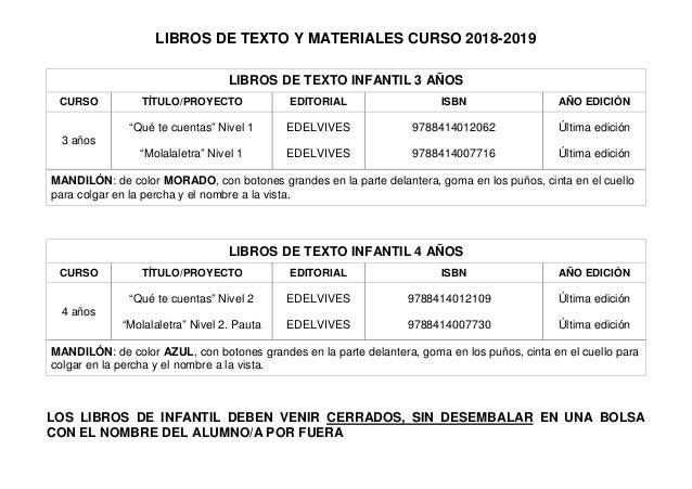 LIBROS DE TEXTO Y MATERIALES CURSO 2018-2019 LIBROS DE TEXTO INFANTIL 3 AÑOS CURSO TÍTULO/PROYECTO EDITORIAL ISBN AÑO EDIC...