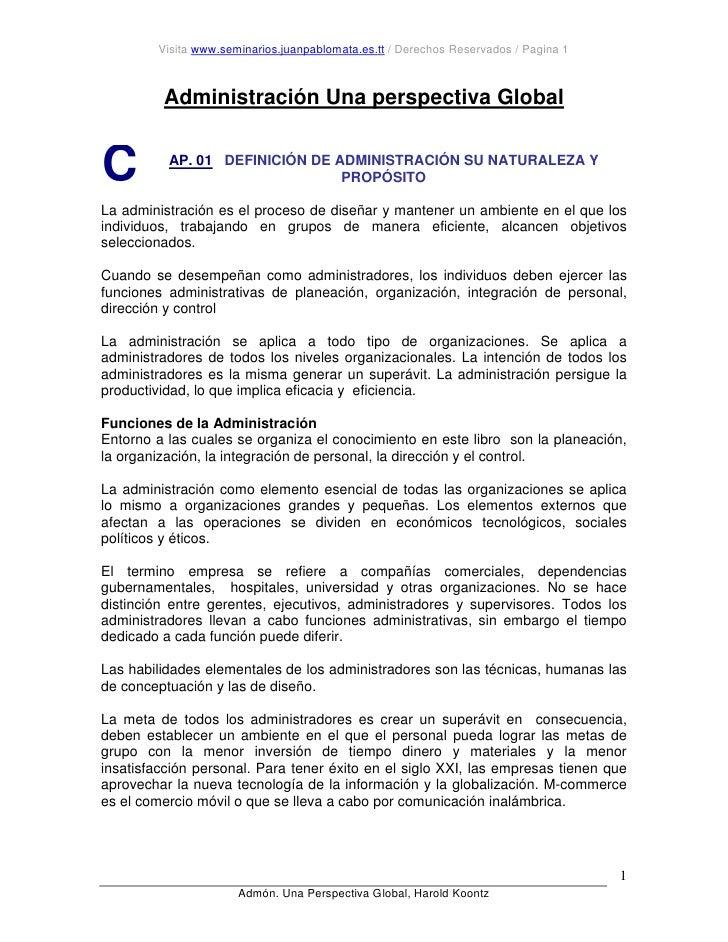 Visita www.seminarios.juanpablomata.es.tt / Derechos Reservados / Pagina 1             Administración Una perspectiva Glob...