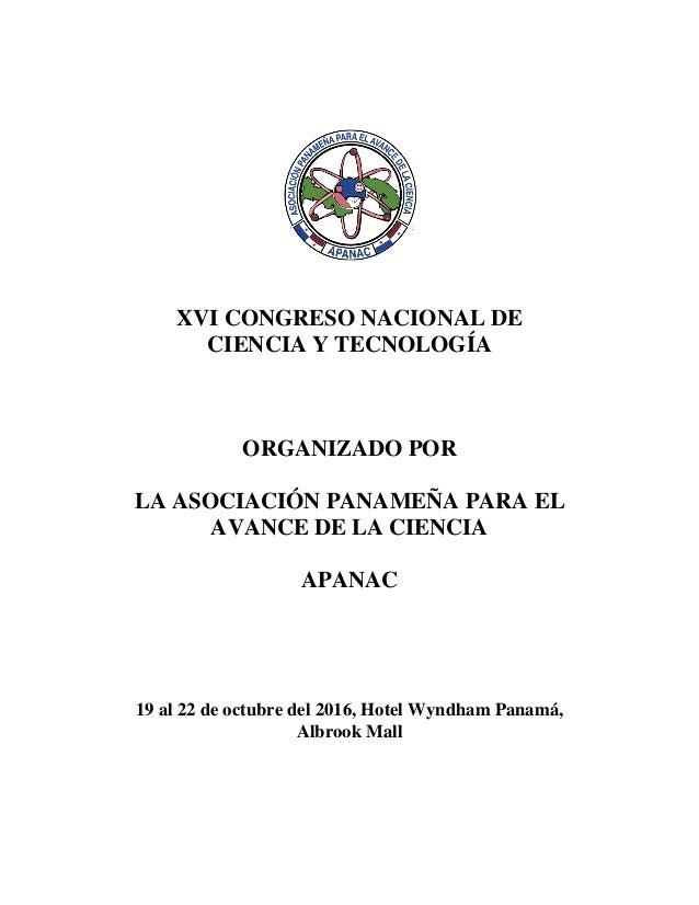 LIBRO DE XVI CONGRESO NACIONAL DE CIENCIA Y TECNOLOGÍA -APANAC - 2016 Slide 2