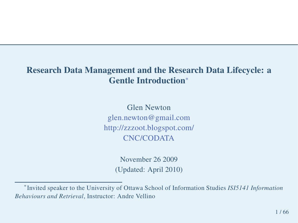 Research Data Management and the Research Data Lifecycle: a                       Gentle Introduction∗                    ...