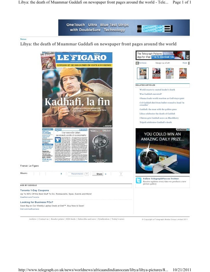 Libya gaddafi newspaper 10