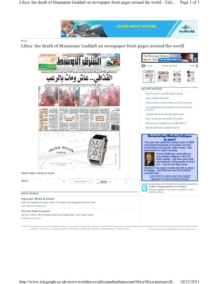 Libya gaddafi newspaper 14