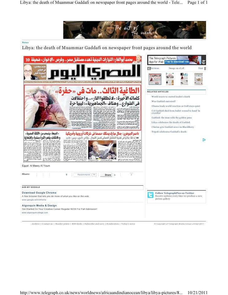 Libya gaddafi newspaper 15