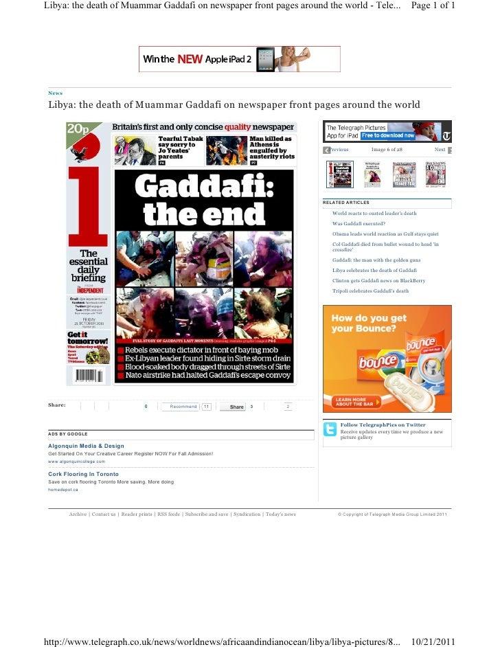 Libya gaddafi newspaper