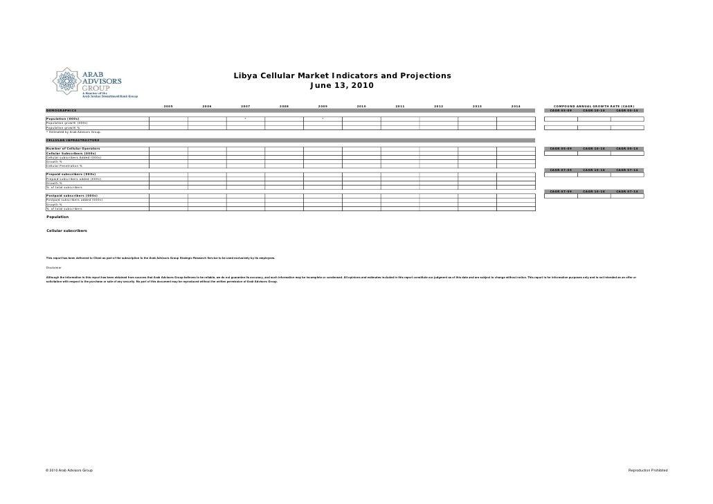 Libya Cellular Market Indicators and Projections                                                                          ...