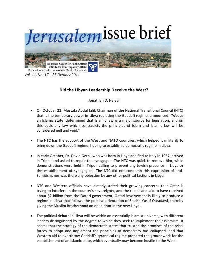 Vol. 11, No. 17 27 October 2011                     Did the Libyan Leadership Deceive the West?                           ...