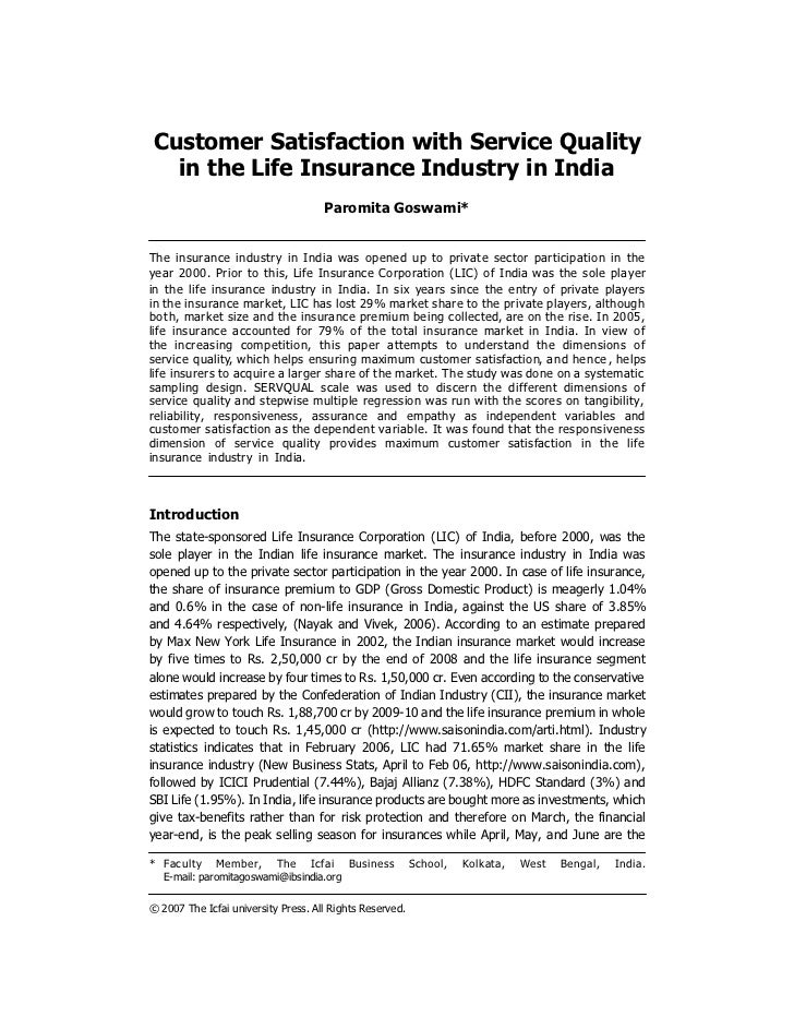 Service quality customer satisfaction essay