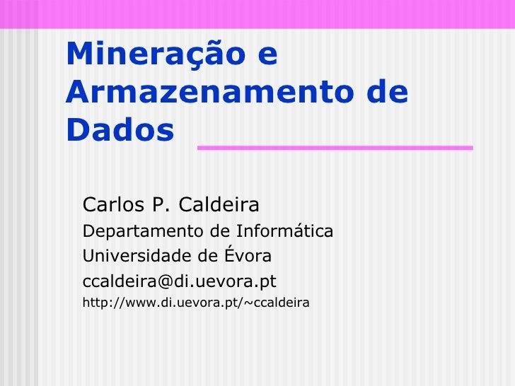 Mineração e Armazenamento de Dados Carlos P. Caldeira Departamento de Informática Universidade de Évora [email_address] ht...