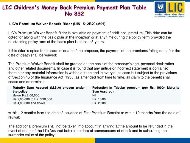lic children 39 s money back premium payment plan table no
