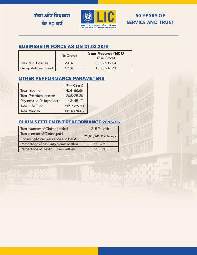 LIC OF INDIA Corporate Profile 2015 2016