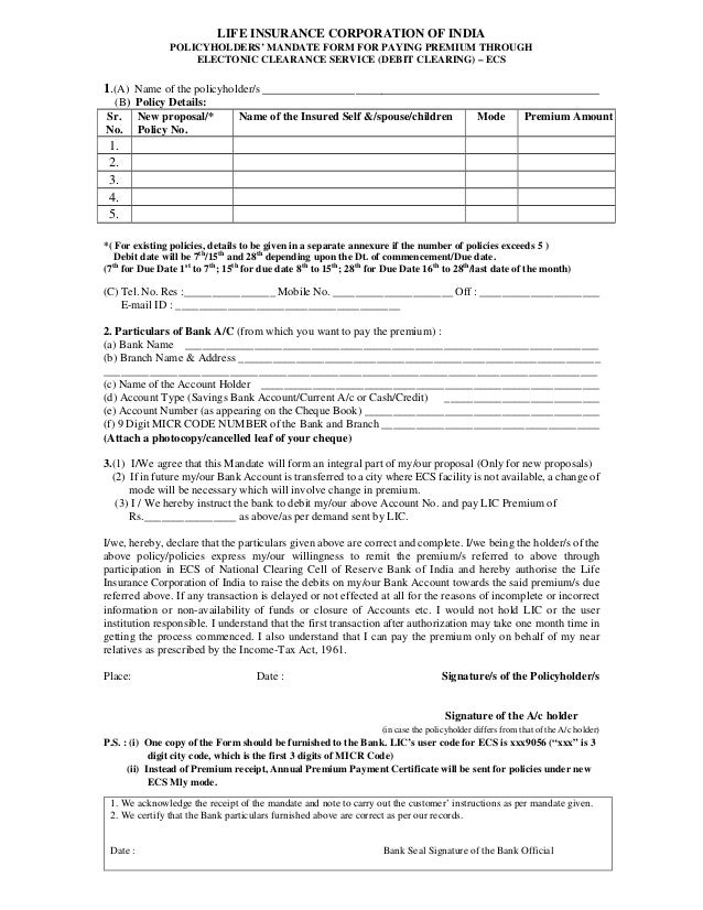 Lic Of India Ecs Form Pdf