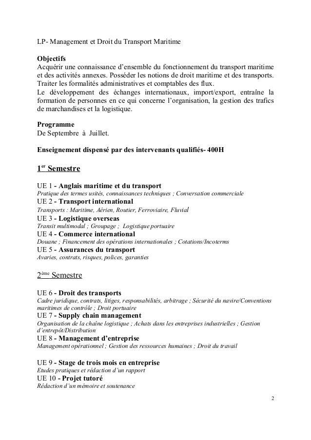 licence professionnelle mdtm  programme 2013