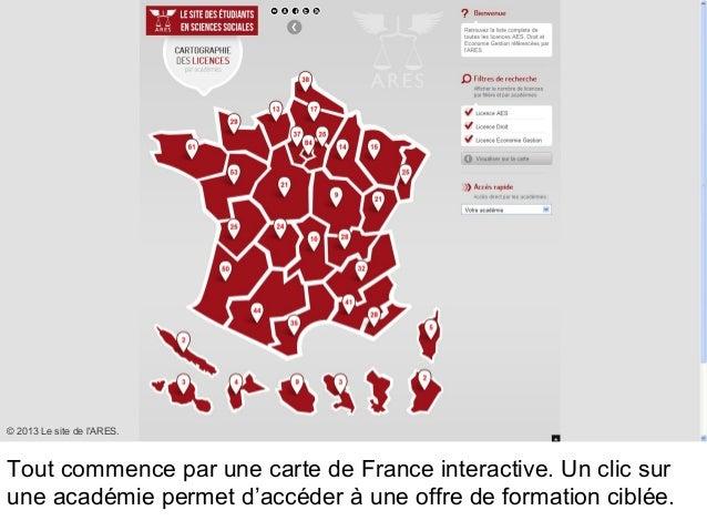 Tout commence par une carte de France interactive. Un clic sur une académie permet d'accéder à une offre de formation cibl...